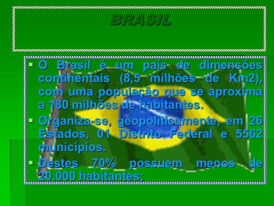 BRASIL O Brasil é um país de dimensões continentais (8,5 milhões de Km2), com uma população que se aproxima a 180 milhões de habitantes.