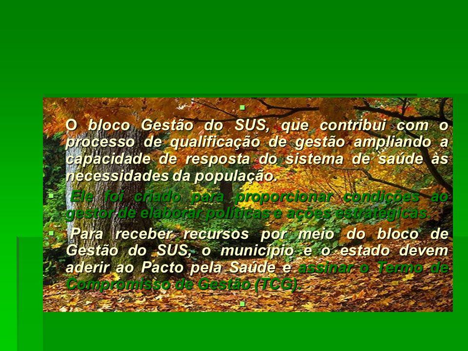 O bloco Gestão do SUS, que contribui com o processo de qualificação de gestão ampliando a capacidade de resposta do sistema de saúde às necessidades da população.