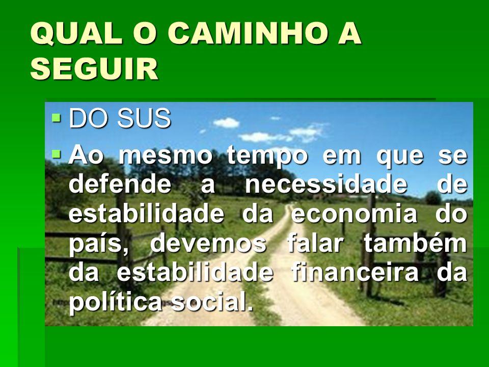 QUAL O CAMINHO A SEGUIR DO SUS