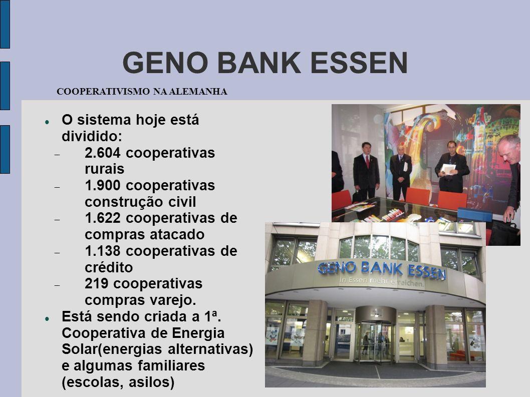 GENO BANK ESSEN O sistema hoje está dividido: