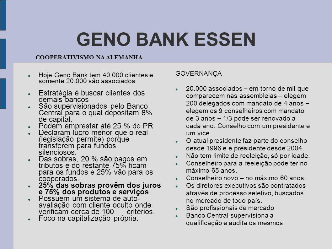 GENO BANK ESSEN Estratégia é buscar clientes dos demais bancos