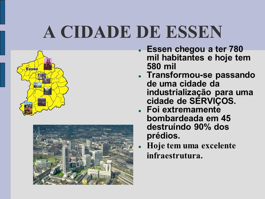 A CIDADE DE ESSENEssen chegou a ter 780 mil habitantes e hoje tem 580 mil.
