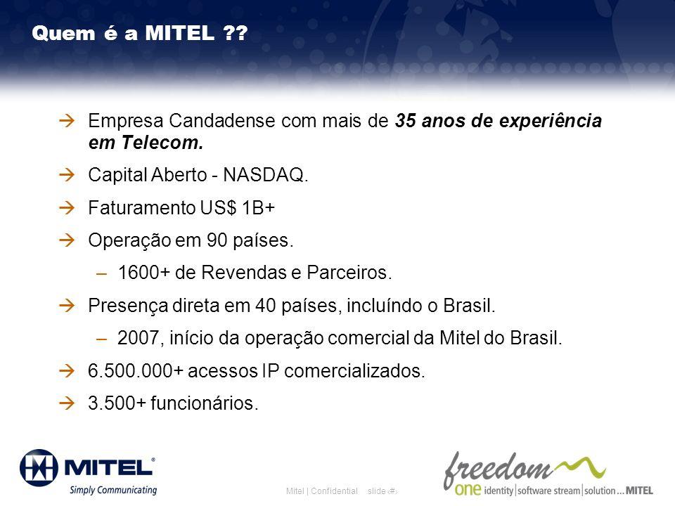 Mitel Template for 2008 Quem é a MITEL 3/26/2017. Empresa Candadense com mais de 35 anos de experiência em Telecom.