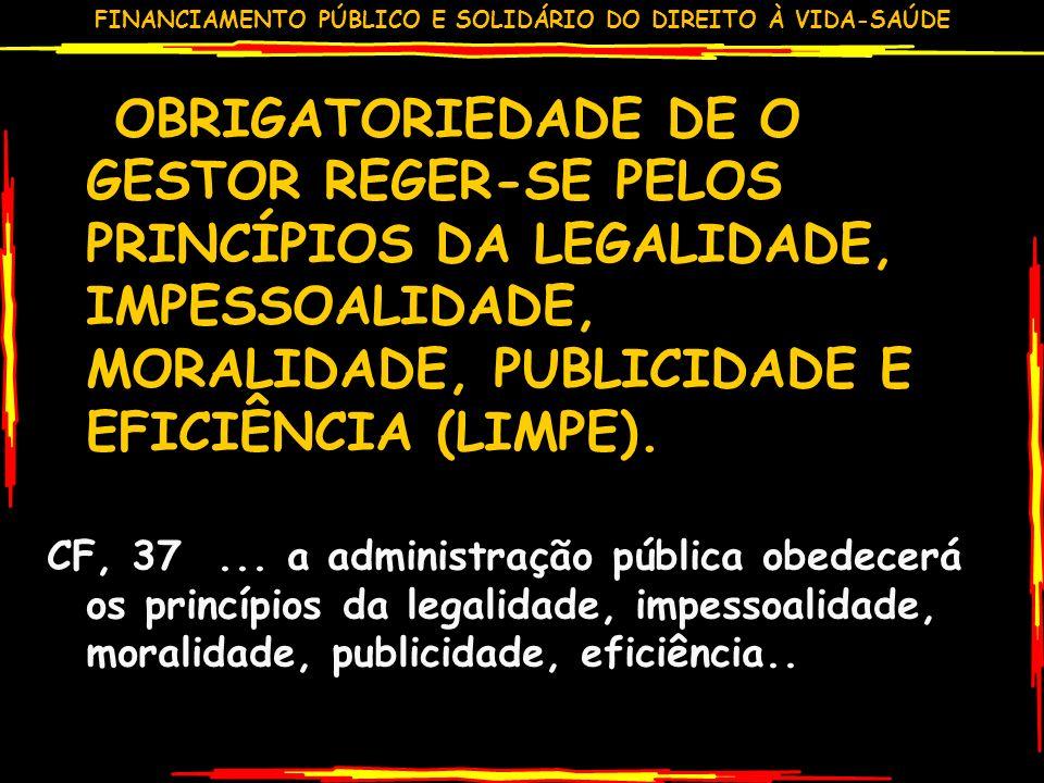 OBRIGATORIEDADE DE O GESTOR REGER-SE PELOS PRINCÍPIOS DA LEGALIDADE, IMPESSOALIDADE, MORALIDADE, PUBLICIDADE E EFICIÊNCIA (LIMPE).