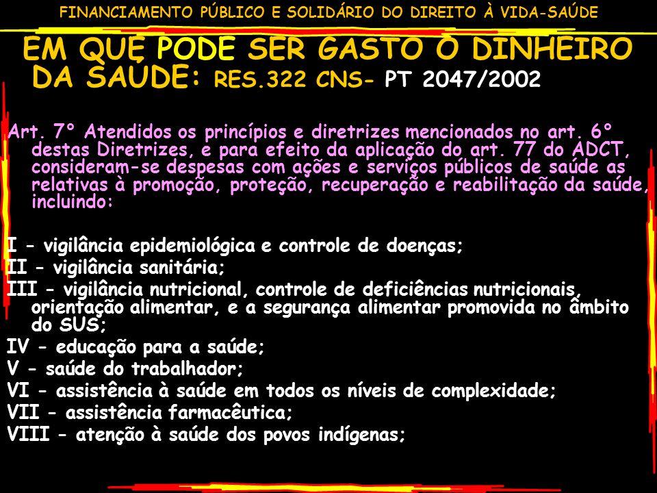 EM QUE PODE SER GASTO O DINHEIRO DA SAÚDE: RES.322 CNS- PT 2047/2002