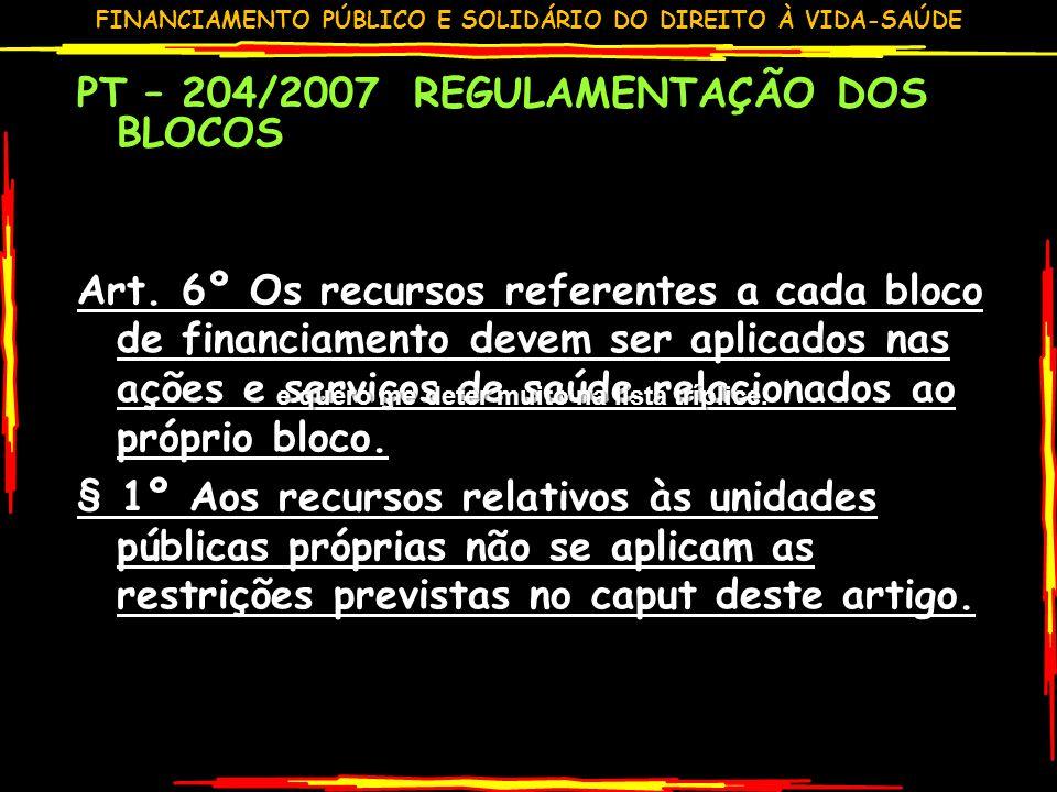 PT – 204/2007 REGULAMENTAÇÃO DOS BLOCOS