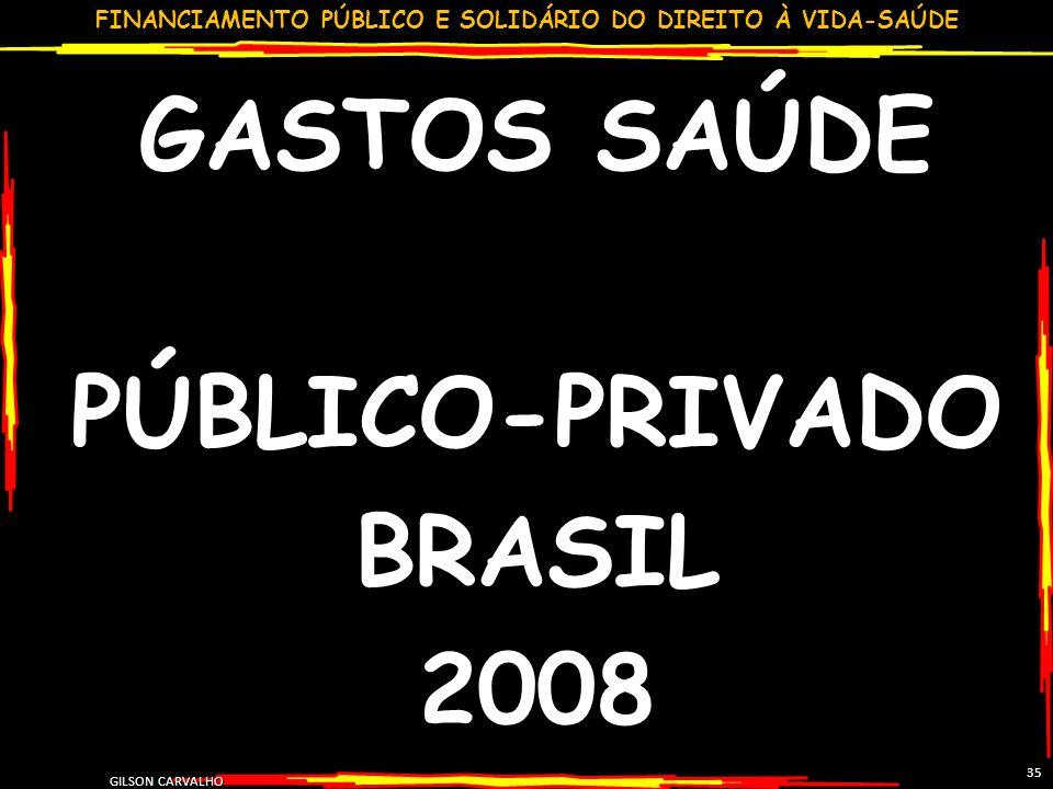 GASTOS SAÚDE PÚBLICO-PRIVADO BRASIL 2008