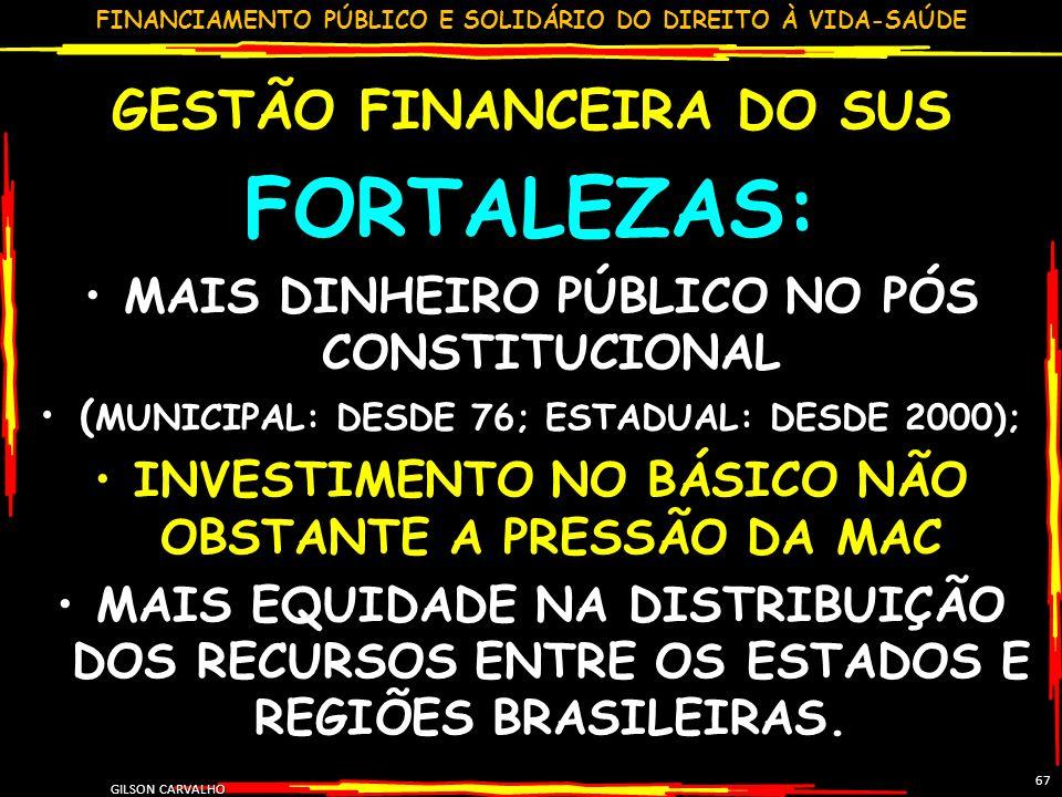 FORTALEZAS: GESTÃO FINANCEIRA DO SUS