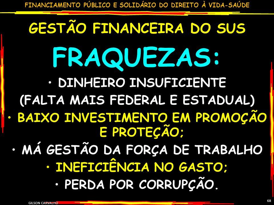 FRAQUEZAS: GESTÃO FINANCEIRA DO SUS DINHEIRO INSUFICIENTE