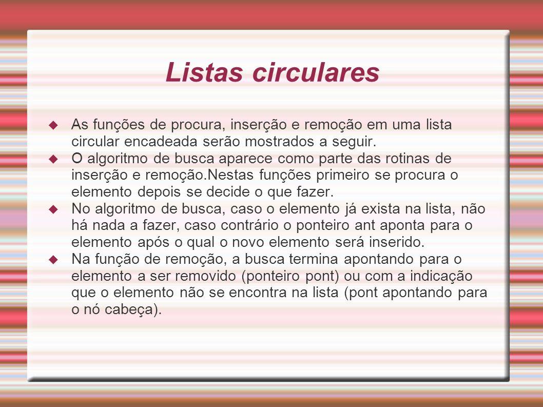 Listas circularesAs funções de procura, inserção e remoção em uma lista circular encadeada serão mostrados a seguir.