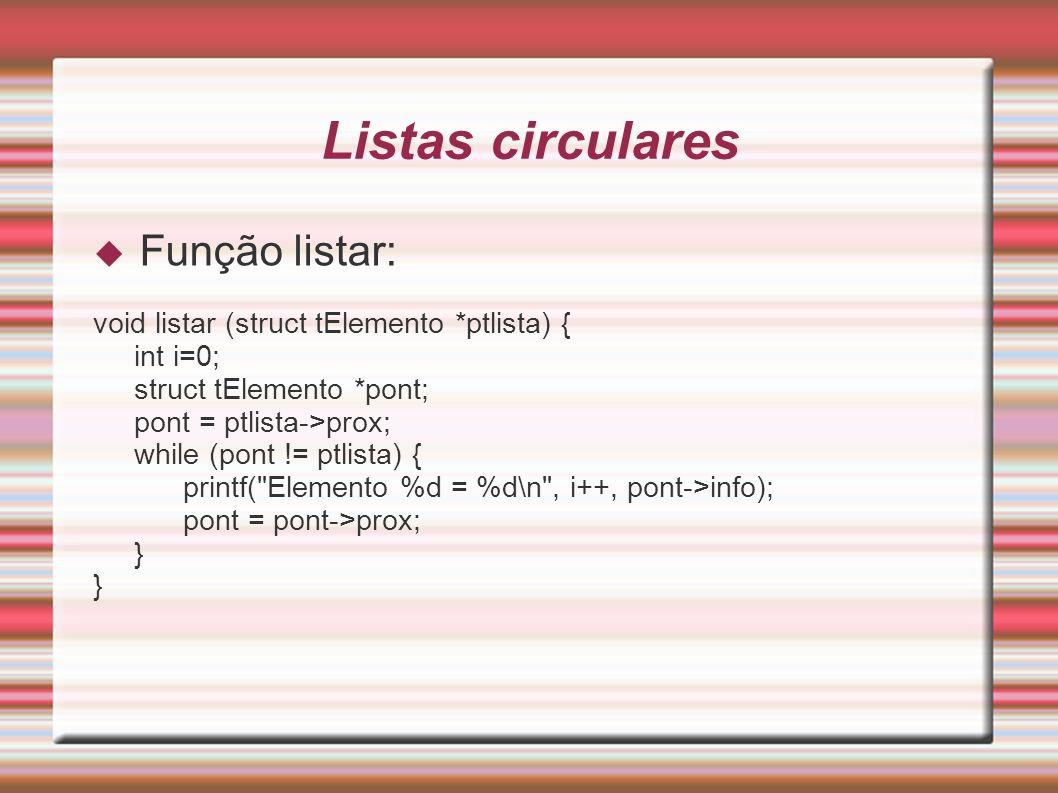 Listas circulares Função listar: