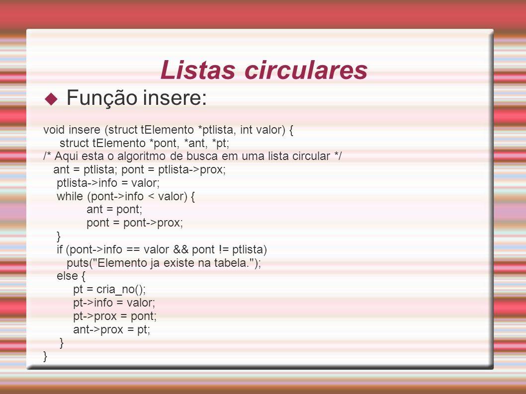 Listas circulares Função insere: