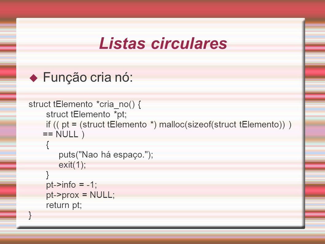 Listas circulares Função cria nó: struct tElemento *cria_no() {