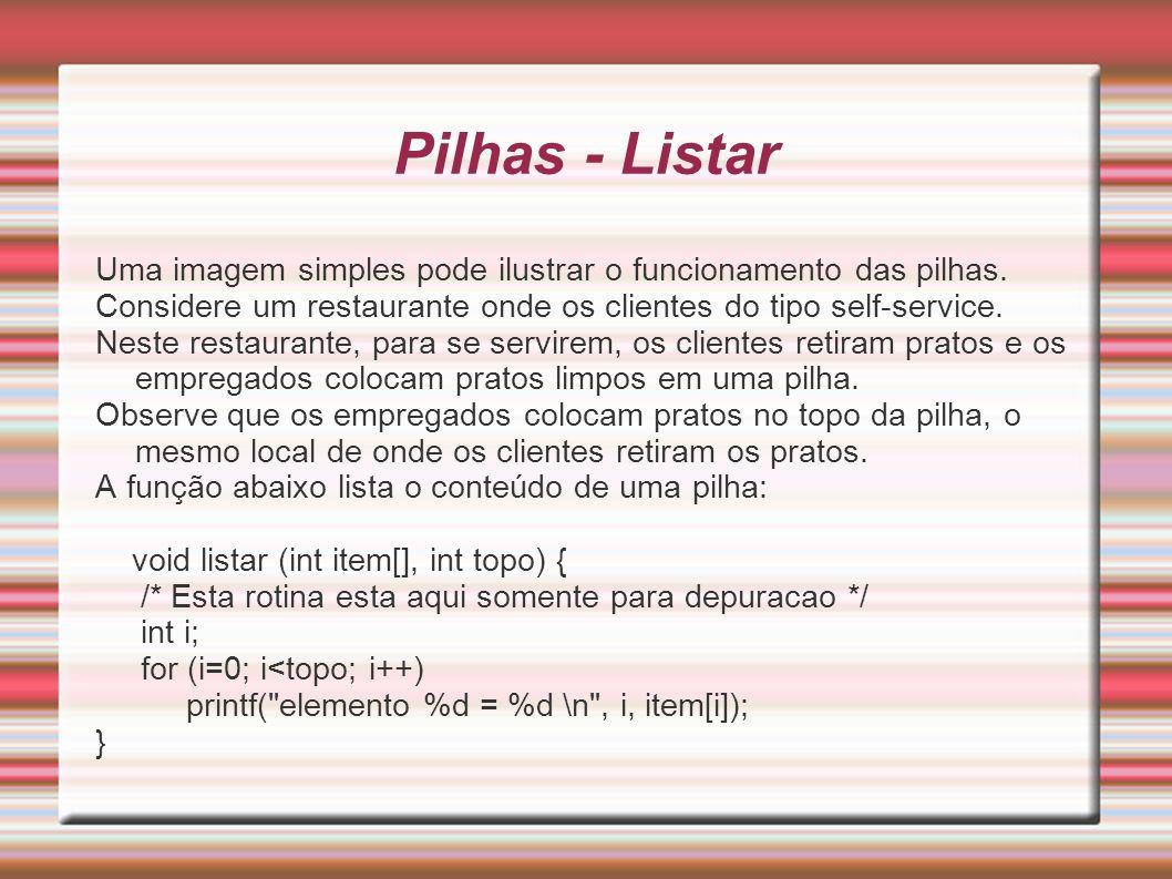 Pilhas - ListarUma imagem simples pode ilustrar o funcionamento das pilhas. Considere um restaurante onde os clientes do tipo self-service.