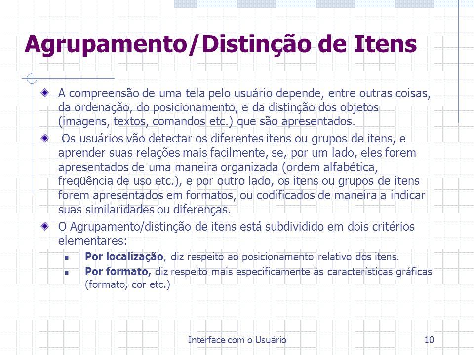 Agrupamento/Distinção de Itens