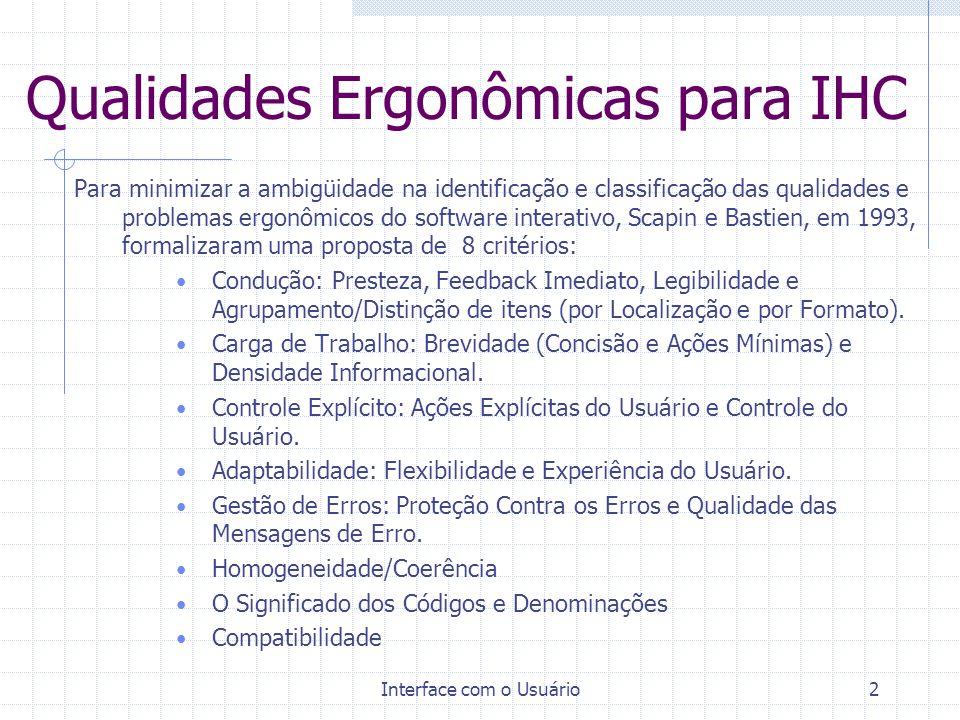 Qualidades Ergonômicas para IHC