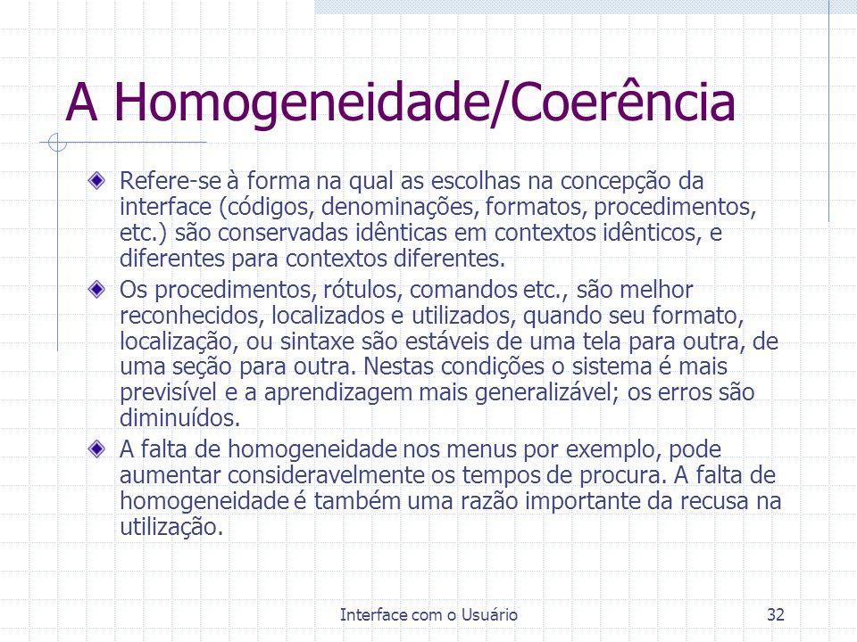 A Homogeneidade/Coerência