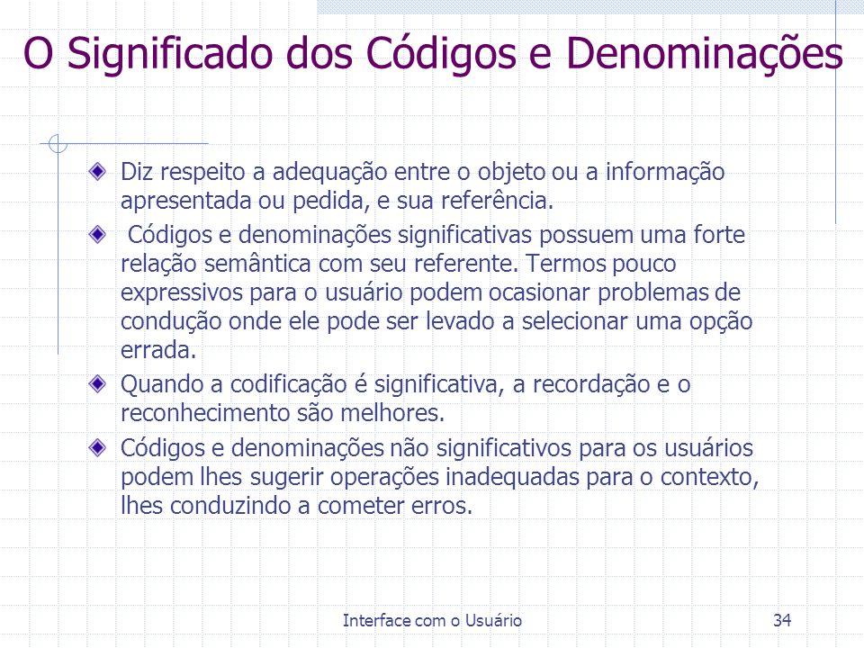 O Significado dos Códigos e Denominações