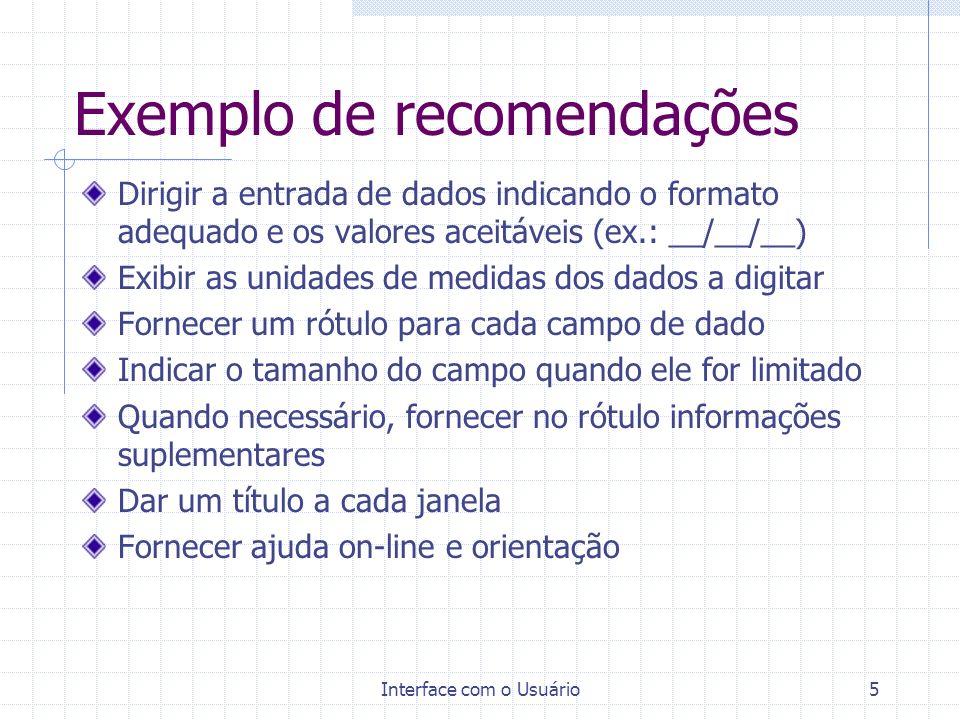 Exemplo de recomendações