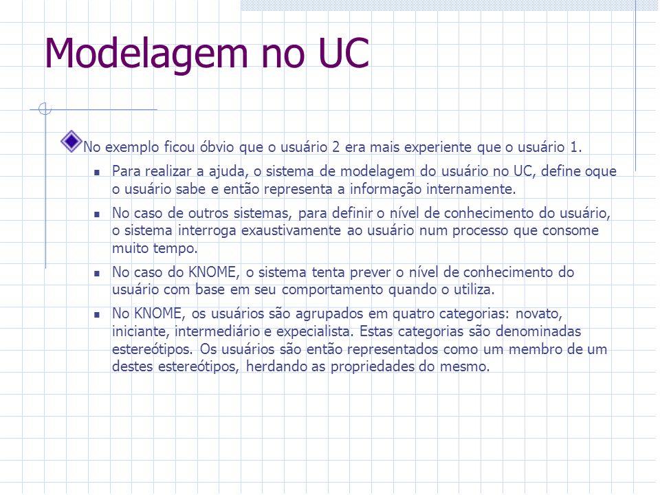 Modelagem no UC No exemplo ficou óbvio que o usuário 2 era mais experiente que o usuário 1.
