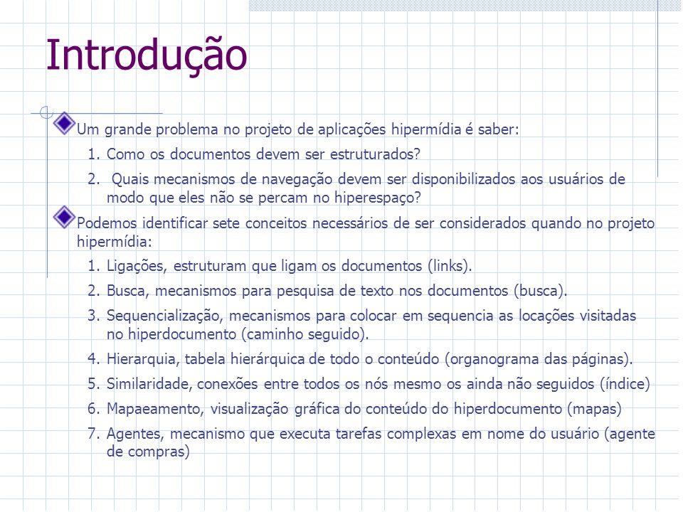 Introdução Um grande problema no projeto de aplicações hipermídia é saber: Como os documentos devem ser estruturados