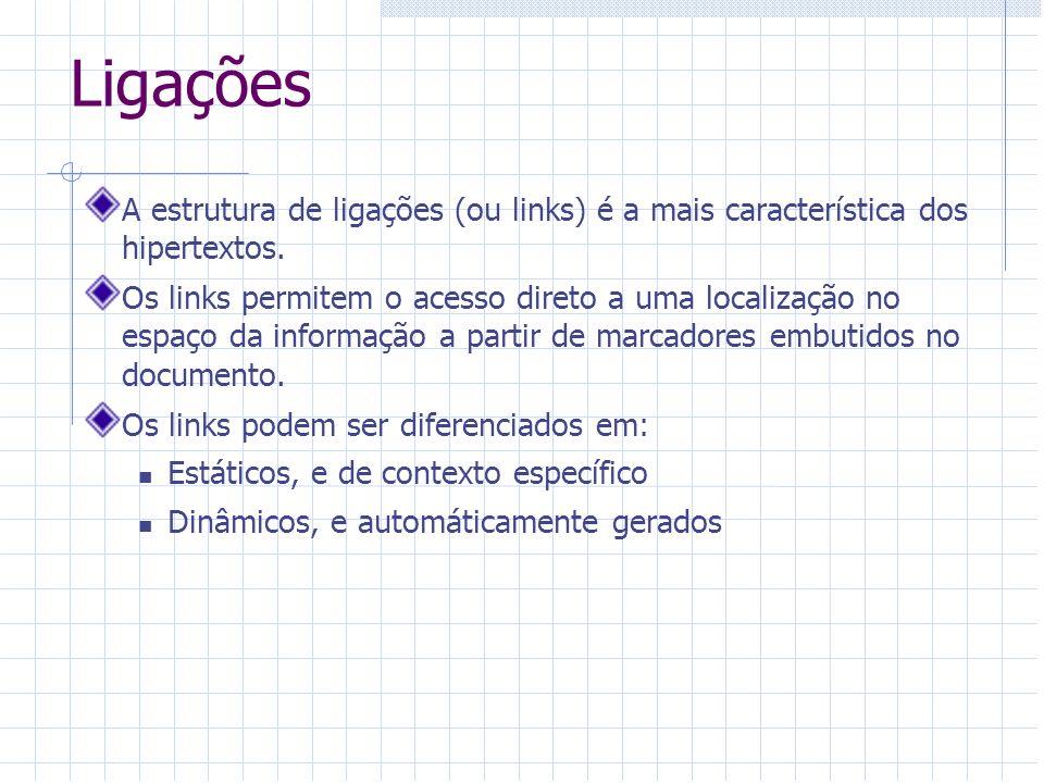 Ligações A estrutura de ligações (ou links) é a mais característica dos hipertextos.