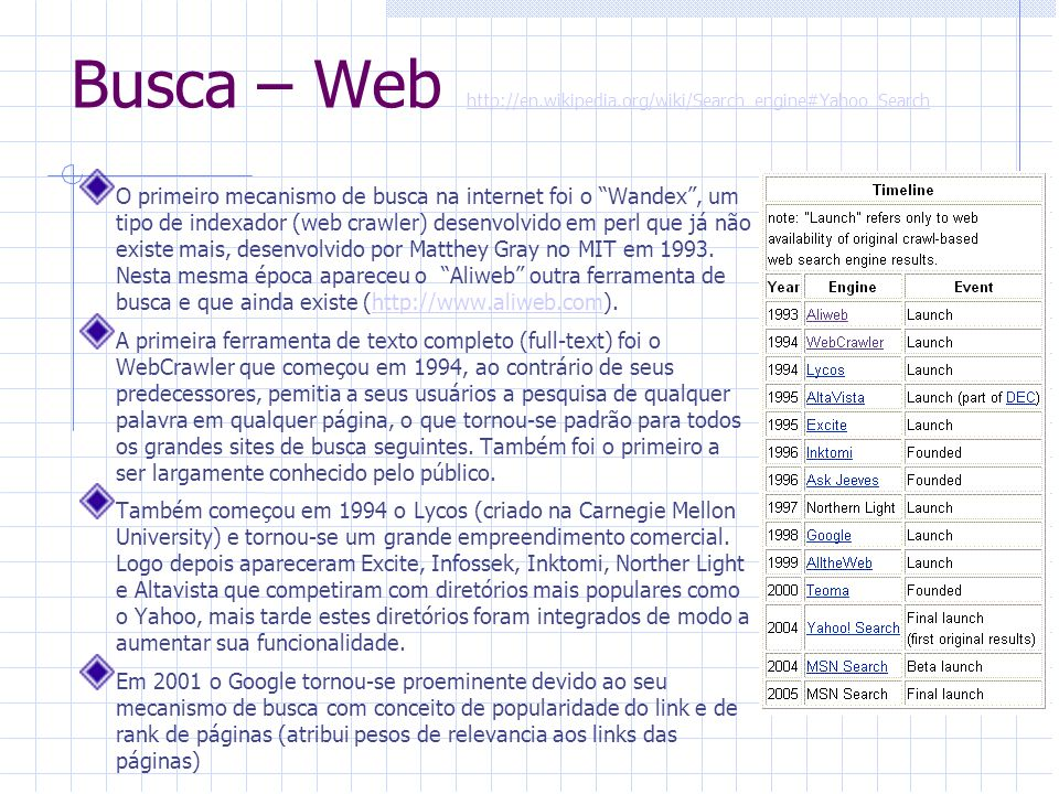 Busca – Web http://en.wikipedia.org/wiki/Search_engine#Yahoo_Search