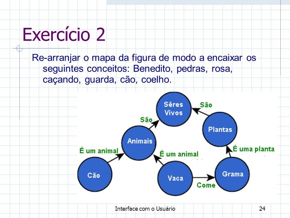 Exercício 2 Re-arranjar o mapa da figura de modo a encaixar os seguintes conceitos: Benedito, pedras, rosa, caçando, guarda, cão, coelho.