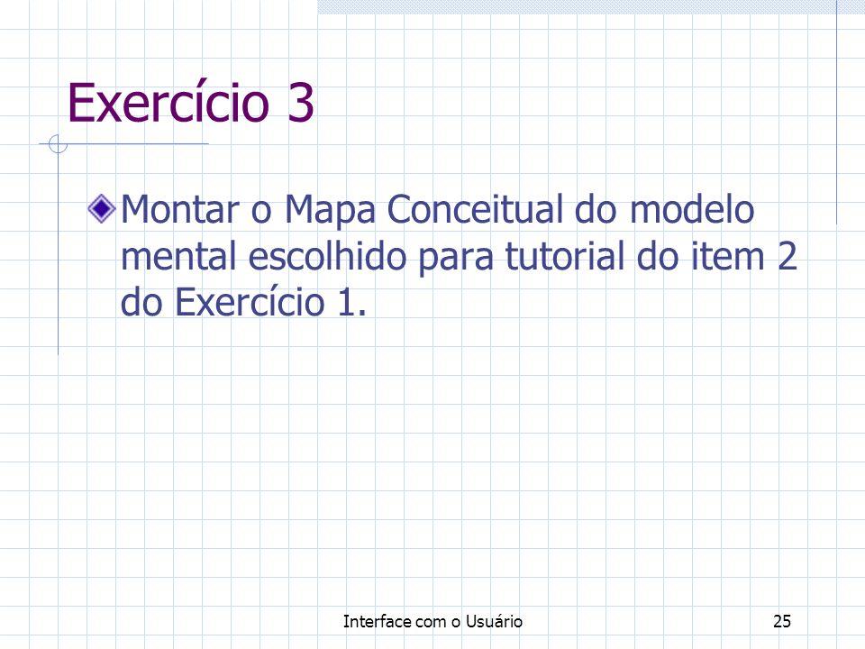 Exercício 3 Montar o Mapa Conceitual do modelo mental escolhido para tutorial do item 2 do Exercício 1.