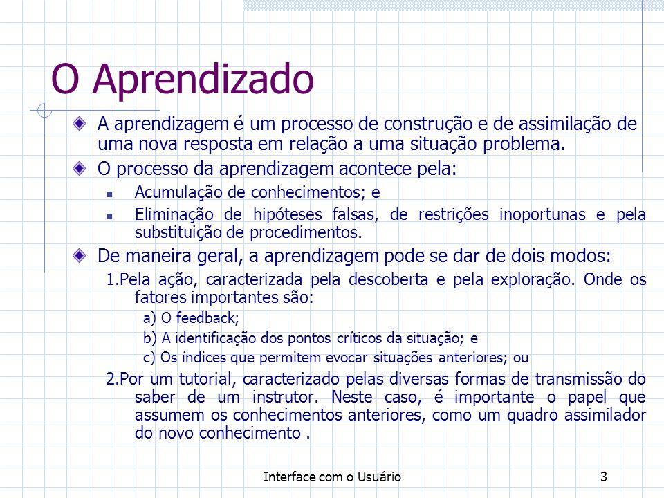 O Aprendizado A aprendizagem é um processo de construção e de assimilação de uma nova resposta em relação a uma situação problema.