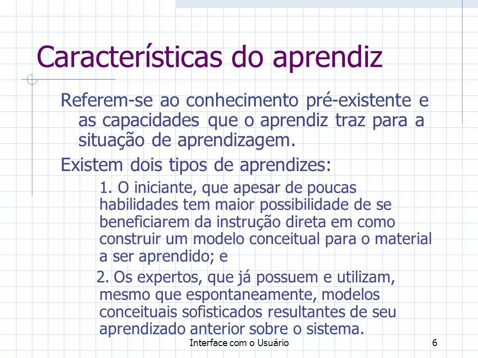 Características do aprendiz
