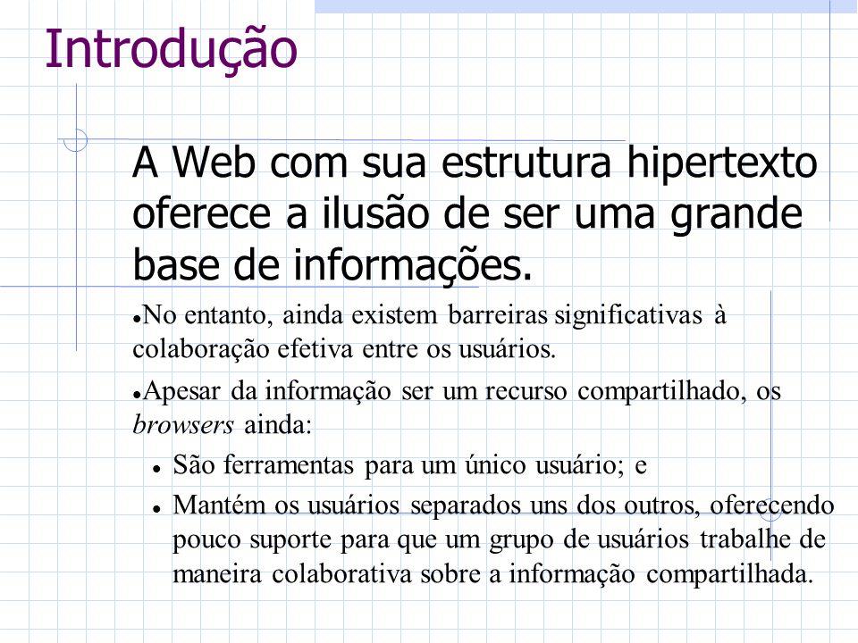 Introdução A Web com sua estrutura hipertexto oferece a ilusão de ser uma grande base de informações.