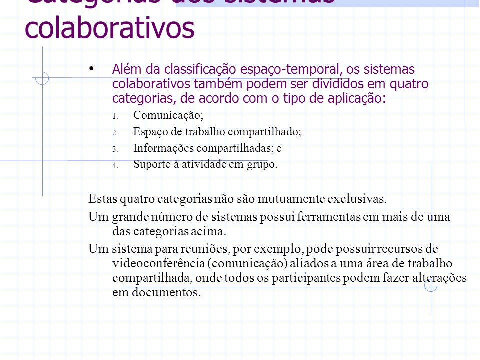 Categorias dos sistemas colaborativos