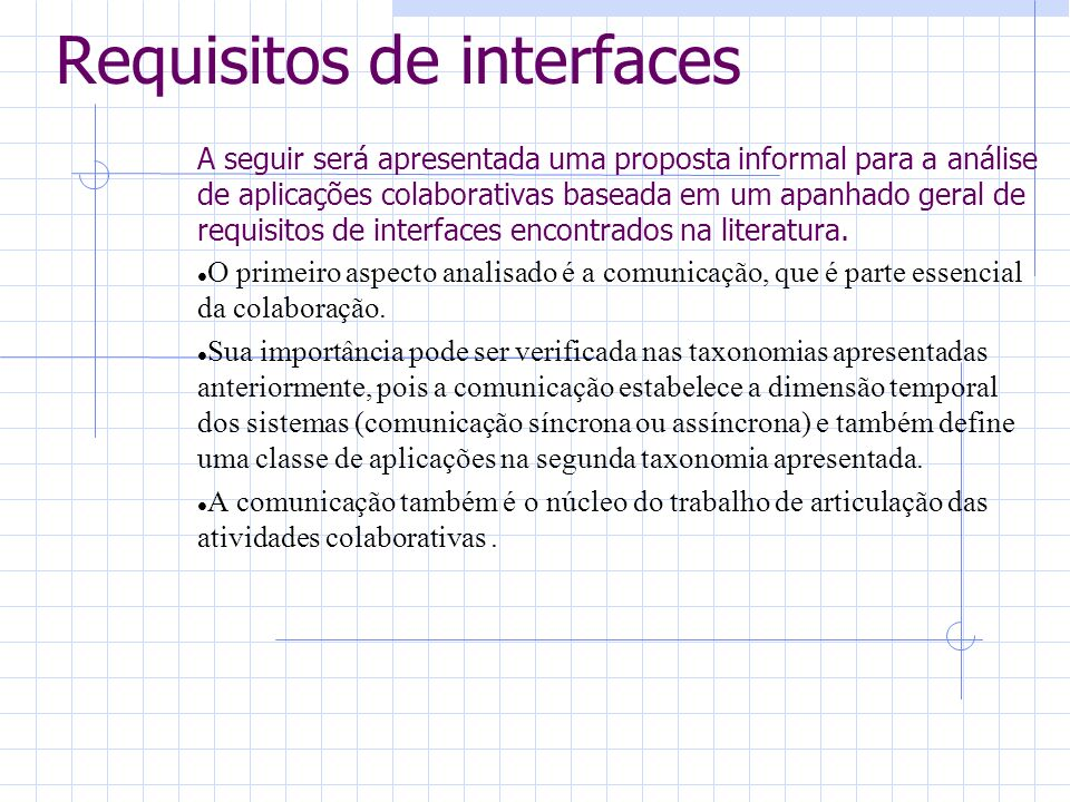 Requisitos de interfaces