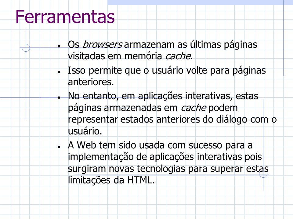 FerramentasOs browsers armazenam as últimas páginas visitadas em memória cache. Isso permite que o usuário volte para páginas anteriores.