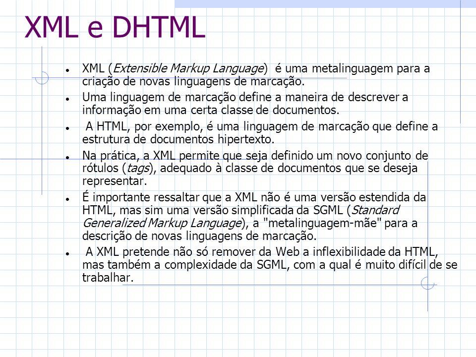 XML e DHTML XML (Extensible Markup Language) é uma metalinguagem para a criação de novas linguagens de marcação.