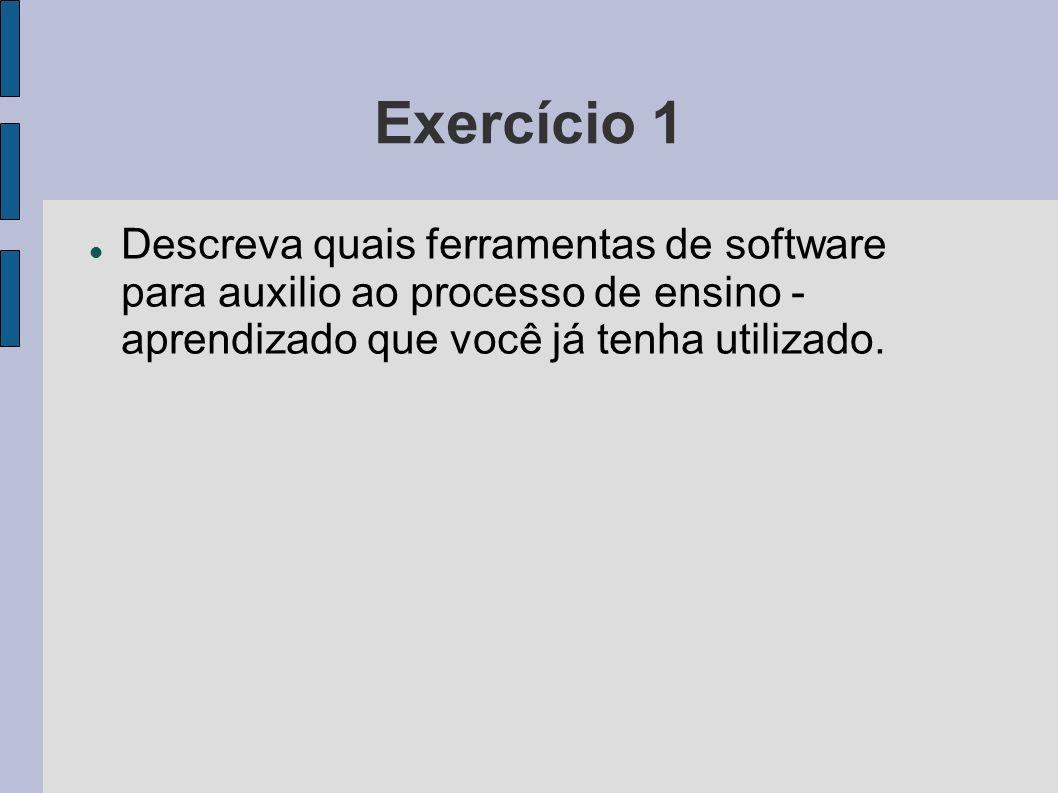 Exercício 1Descreva quais ferramentas de software para auxilio ao processo de ensino - aprendizado que você já tenha utilizado.