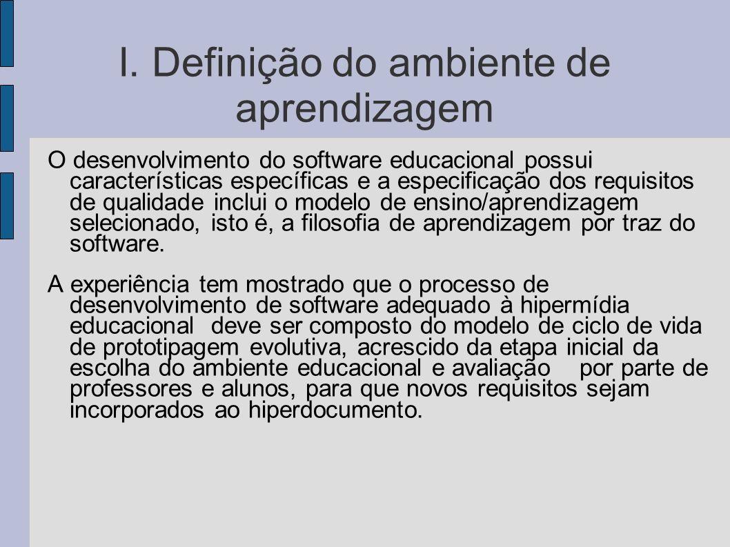 I. Definição do ambiente de aprendizagem