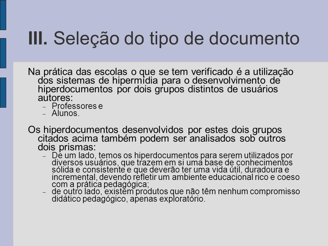 III. Seleção do tipo de documento