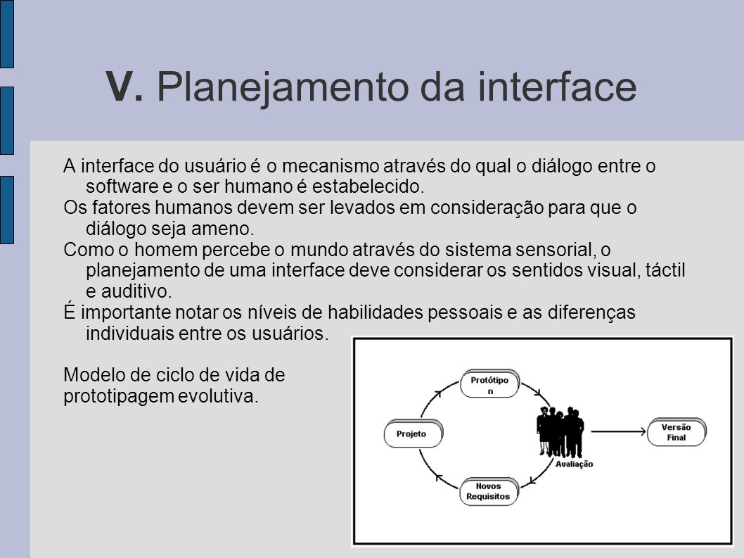 V. Planejamento da interface