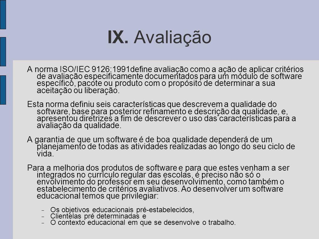IX. Avaliação