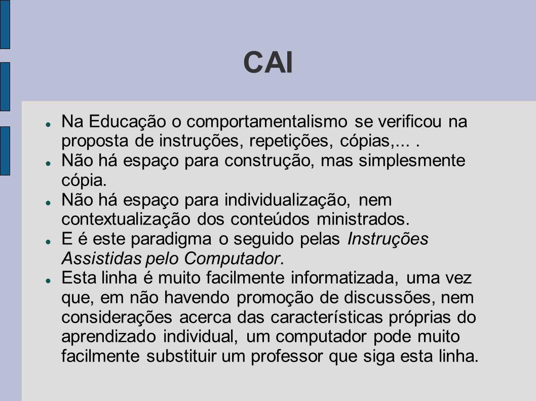 CAI Na Educação o comportamentalismo se verificou na proposta de instruções, repetições, cópias,... .