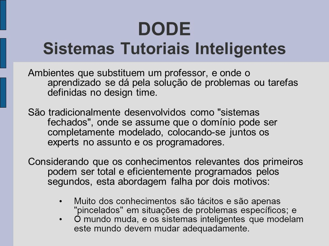 DODE Sistemas Tutoriais Inteligentes