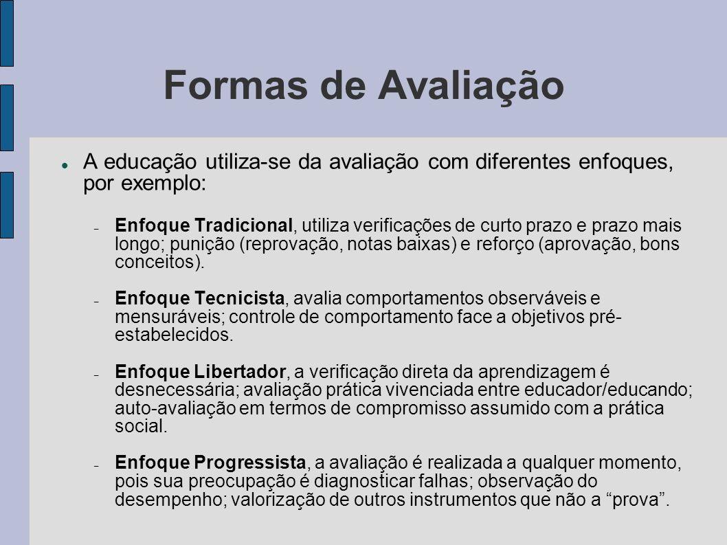 Formas de Avaliação A educação utiliza-se da avaliação com diferentes enfoques, por exemplo: