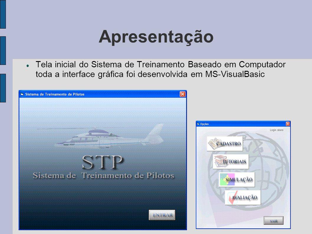 Apresentação Tela inicial do Sistema de Treinamento Baseado em Computador toda a interface gráfica foi desenvolvida em MS-VisualBasic.
