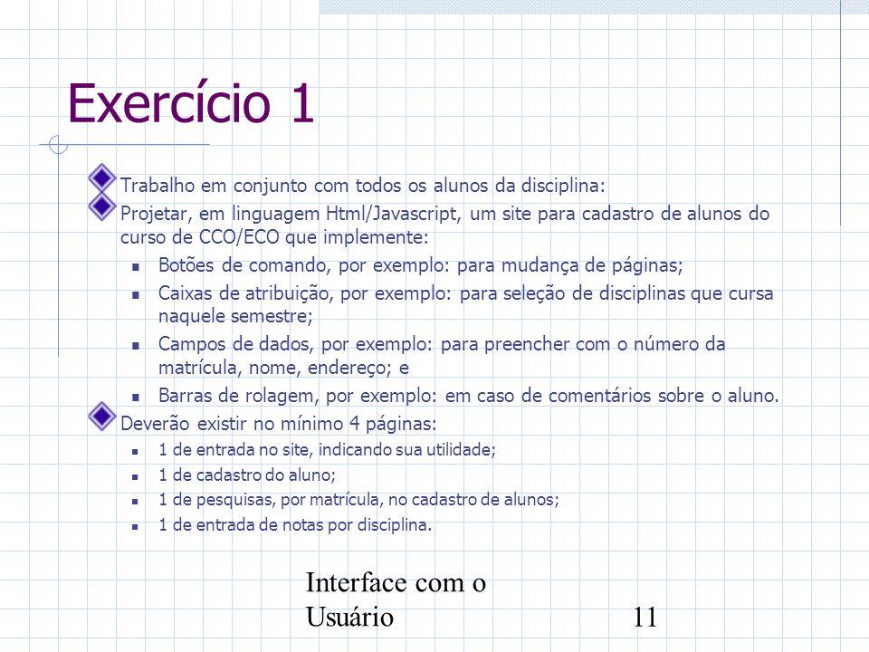 Exercício 1 Interface com o Usuário