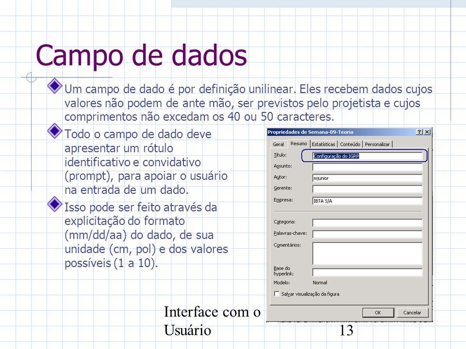 Campo de dados Interface com o Usuário