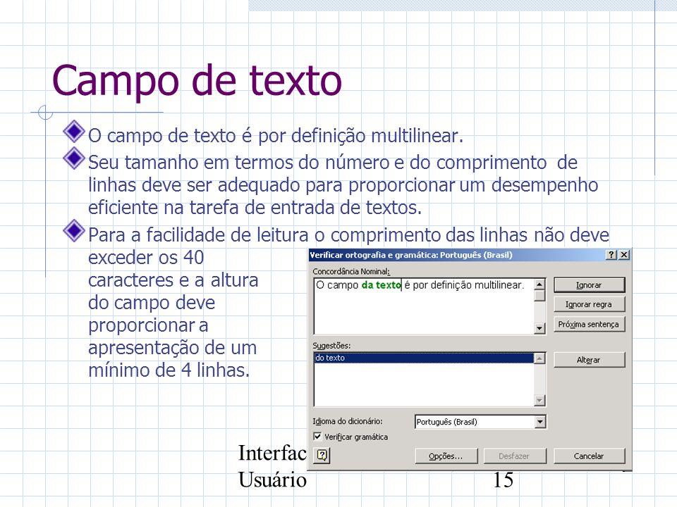 Campo de texto Interface com o Usuário