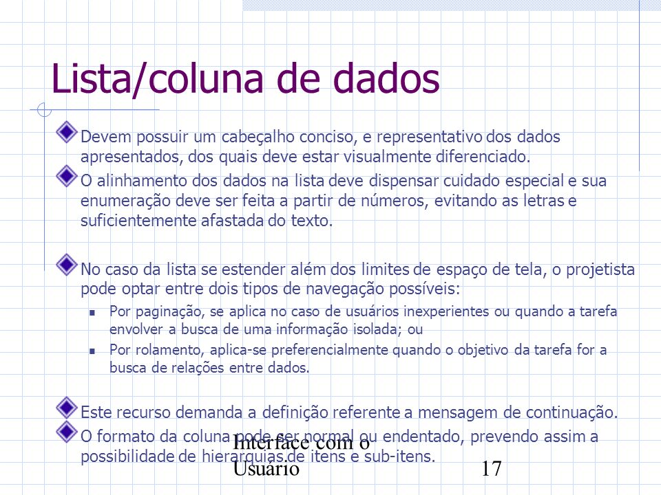 Lista/coluna de dados Interface com o Usuário