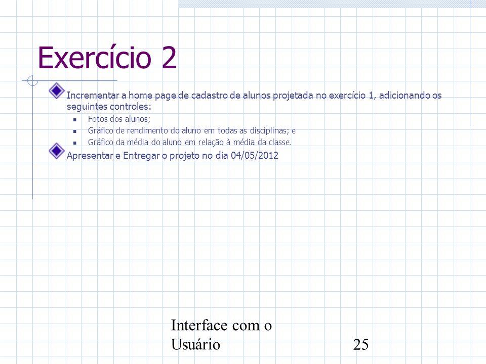 Exercício 2 Interface com o Usuário
